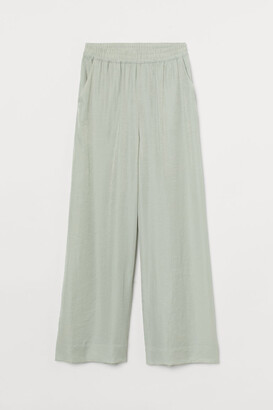 H&M Wide-cut Pants - Green