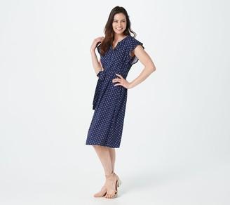 Denim & Co. Printed Flutter-Sleeve Belted Shirtdress
