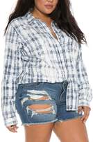 Plus Size Women's Slink Jeans Plaid Western Shirt