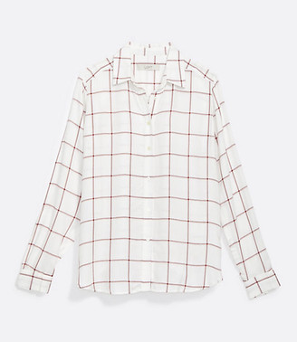 LOFT Shimmer Plaid Hi-Lo Tunic Shirt