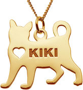 JCPenney FINE JEWELRY Personalized Cat 14K Yellow Gold Over Sterling Silver Pendant Necklace