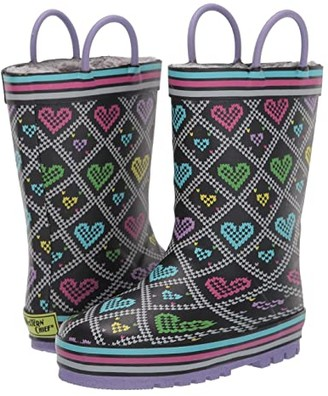 Western Chief Quilted Hearts Rain Boot (Toddler/Little Kid) (Black) Girls Shoes
