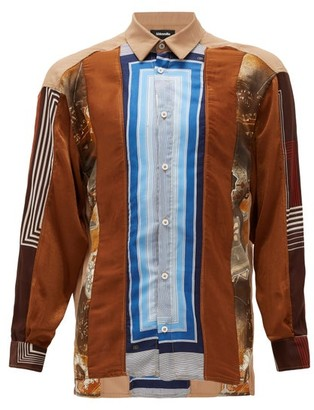 Ahluwalia Patchwork Upcycled Silk-blend Shirt - Multi