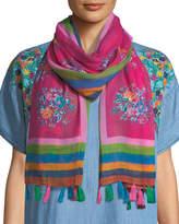 Tolani Floral-Print Oblong Scarf w/ Tassels