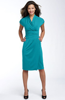 Suzi Chin for Maggy Boutique Ruched Faux Wrap Dress