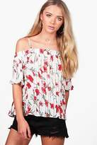 boohoo Womens Ria Rose Print Pleated Cold Shoulder Top in White size 10