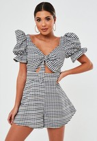 Missguided Black Gingham Tie Front Cut Out Romper
