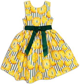 Joe Ella Pineapple Print Sash Dress (Little Girls & Big Girls)