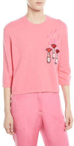 Valentino Crewneck Elbow-Sleeve Wool-Cashmere Sweater w/ Lipstick-Embroidery