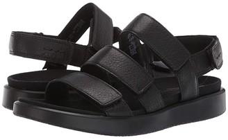 Ecco Flowt 3 Strap Sandal (Warm Grey Metallic Cow Leather) Women's Sandals
