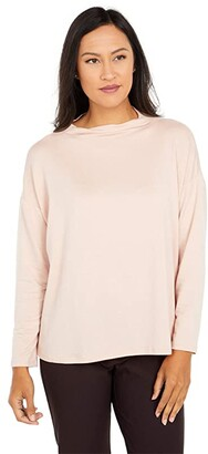 Eileen Fisher Funnel Neck Box Top (Blush) Women's Clothing
