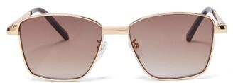 Le Specs Supastar Square Metal Sunglasses - Womens - Brown Gold