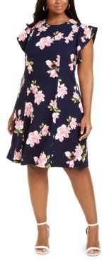 Jessica Howard Plus Size Floral-Print Fit & Flare Dress