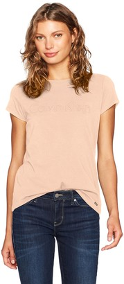 Calvin Klein Women's Short Sleeve Tee with Middle Logo