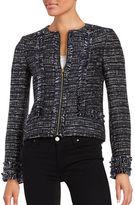 Karl Lagerfeld Paris Tweed Zip-Front Blazer