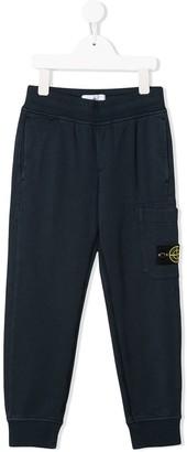 Stone Island Junior straight leg logo patch sweat pants