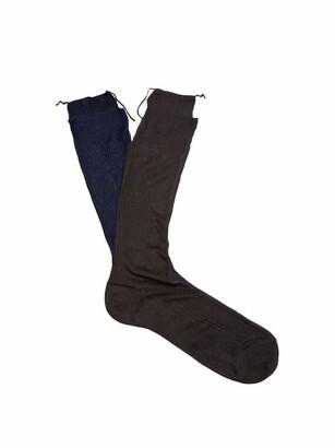 Raey Frankenstein Silk Socks - Womens - Navy Multi