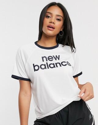 New Balance Running classic logo cropped t-shirt in white