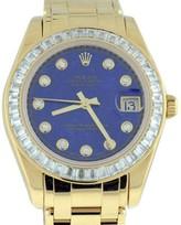 Rolex Masterpiece 81308BR Blue Lapis Dial Baguette Diamond Bezel 18K Yellow Gold Womens Watch