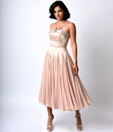 Unique Vintage Iconic by UV Champagne Satin & Chiffon Dovima Ballerina Swing Dress
