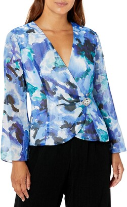 Alex Evenings Women's Petite Printed Chiffon Blouse with Embellished Side Closure
