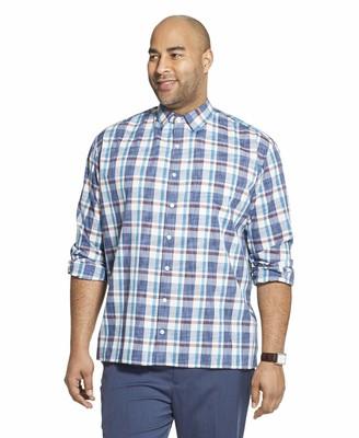 Van Heusen Men's Big & Tall Big and Tall Never Tuck Long Sleeve Button Down Plaid Shirt
