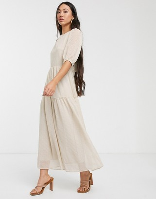 Glamorous oversized maxi smock dress with tie back in vintage lace-Cream