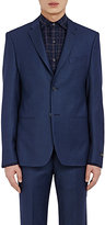 Barneys New York MEN'S BIRDSEYE-WEAVE TWO-BUTTON SPORTCOAT-BLUE SIZE 40