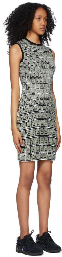 Thumbnail for your product : BARRAGÁN Black & Green Monogram Knit Tank Dress
