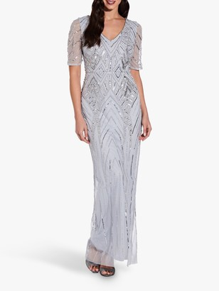 Adrianna Papell Beaded Elbow Maxi Gown, Glacier