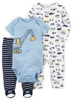 Carter's 3-Piece Construction Sleep & Play Footie, Bodysuit, and Pant Set in Blue
