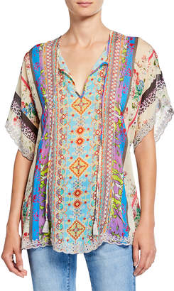Johnny Was Floral Mixed Medai Split-Neck Scallop Hem Georgette Blouse