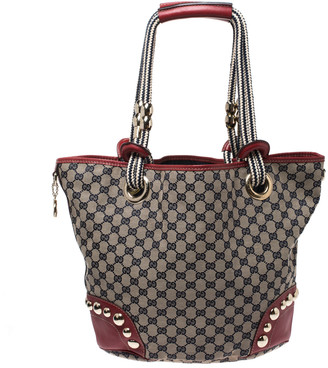 Gucci Red/Navy Blue GG Canvas and Leather Acapulco Tote