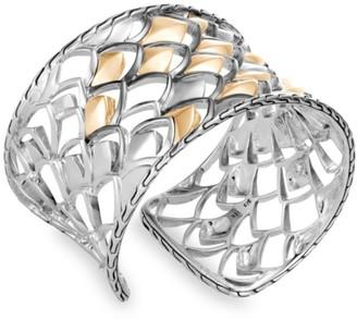 John Hardy Legends 18K Silver & Yellow Gold Large Cuff Bracelet
