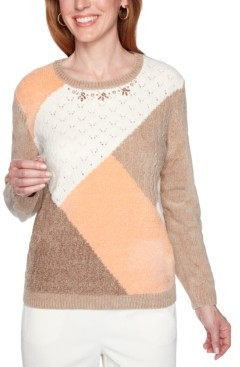 Alfred Dunner First Frost Colorblocked Mixed-Pattern Sweater