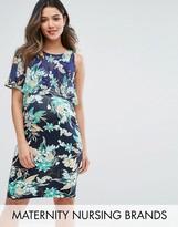 Gebe Maternity Nursing Printed Double Layer Dress