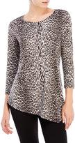 Rafaella Petite Studded Cheetah Asymmetrical Top