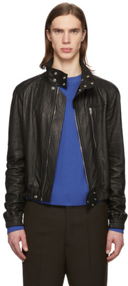 Rick Owens Black Leather IES Bomber Jacket