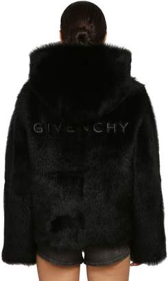 Givenchy Logo Hooded Shearling Coat