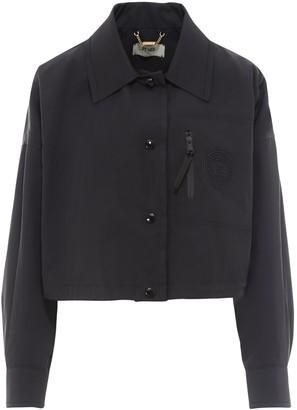 Fendi Logo Patch Button-Up Cropped Jacket