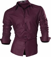 jeansian Men's Fashion Casual Solid Color Long Sleeves Shirts Z029 WineRed XL