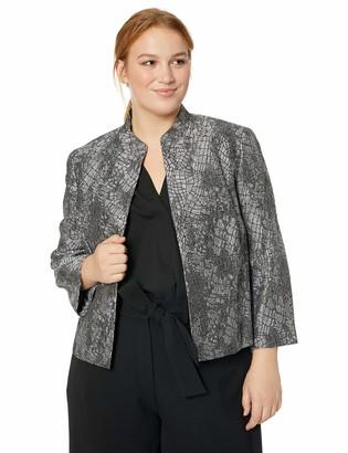 Kasper Women's Plus Size Stand Collar Metallic Jacquard Fly Away Jacket