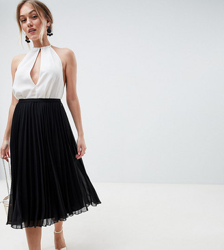 Asos DESIGN Petite pleated midi skirt-Black