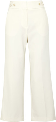 Veronica Beard Aubrie Ivory Wide-leg Trousers