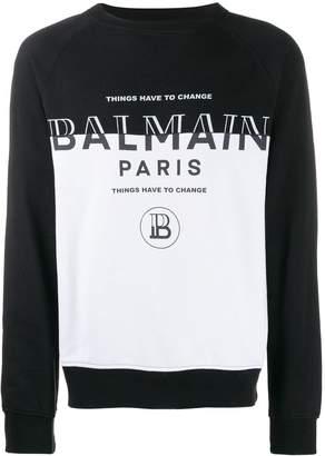 Balmain dual-tone logo sweatshirt