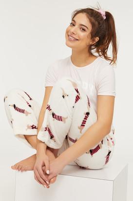 Ardene Dog Print Plush PJ Pants