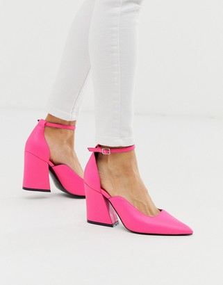 Asos Design DESIGN Spotless pointed block heels in bright pink
