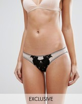 Wolfwhistle Wolf & Whistle Nude and Black Applique Brief