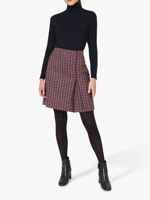 Hobbs Avery Pleat A-Line Checked Wool Skirt, Pink/Lime Green