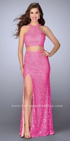 La Femme Lace Two Piece Rhinestone Embellished Halter Prom Dress